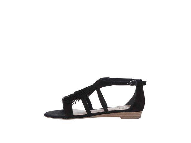 Černé semišové sandály s třásněmi s.Oliver -