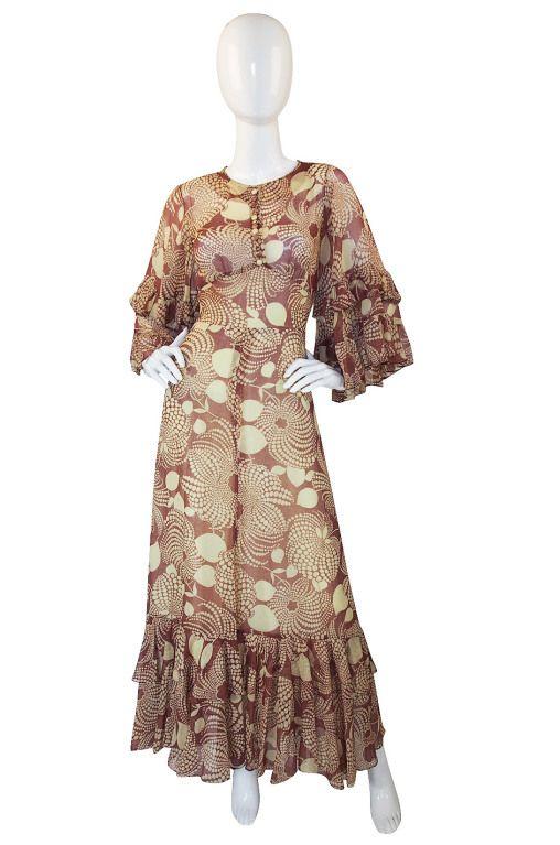 1960s Ruffled Gina Fratini Maxi Dress .9