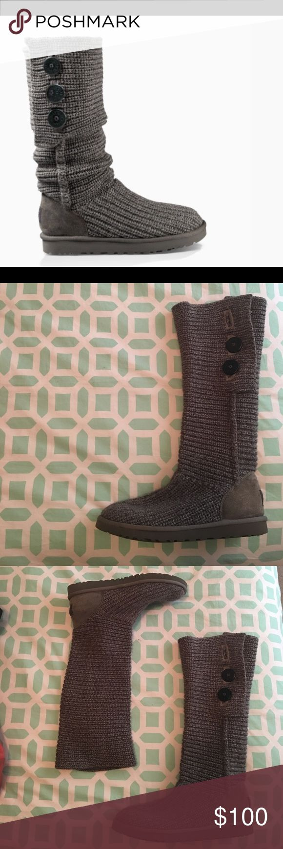 UGG Classic Cardy Crochet Boots Gray GREAT conditions, no signs of wear. Love these boots but I don't get to wear them enough because of the warm southern weather. Very warm and comfy even for just around the house UGG Shoes Winter & Rain Boots