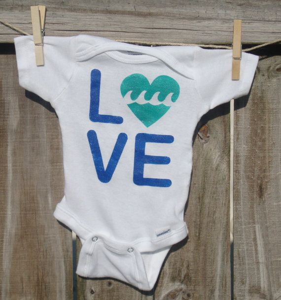 Cute Surfer Baby Hand Painted Onesie / by WelcometoWonderland, $19.00