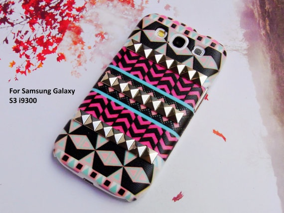 Samsung Galaxy S3 case,Aztec Geometric Studded Samsung Case,deluxe Studs Floral Handmade Phone Case hard Samsung S3 case Cover