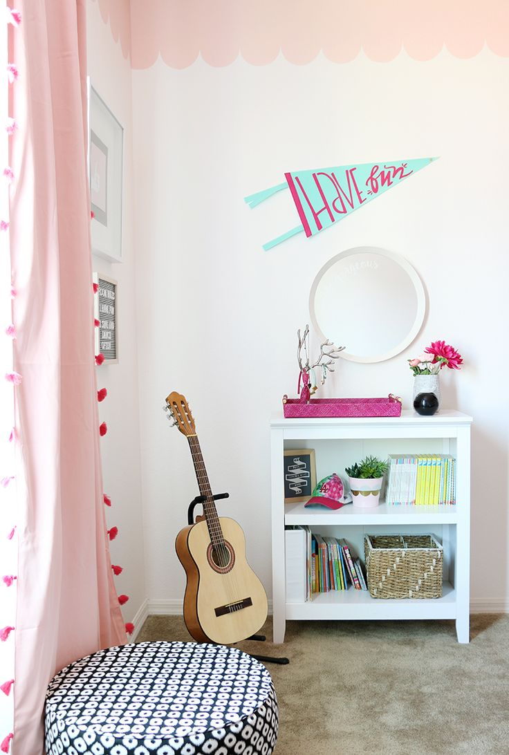 108 best inspiring kids spaces images on pinterest kid spaces sweet and modern girls room makeover with diy scalloped wall