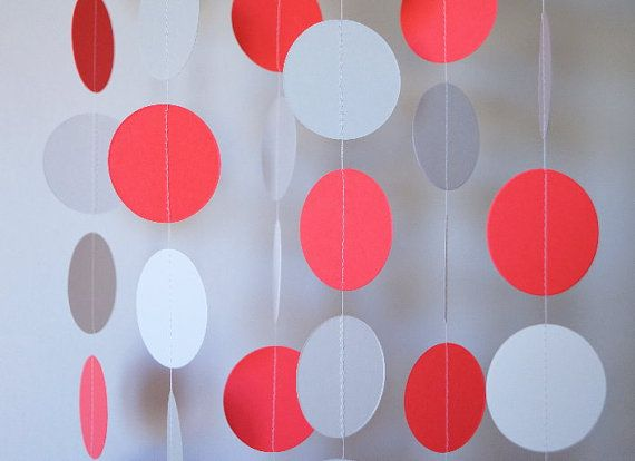 Coral Gray and White Paper Garland Coral by FabulouslyHomemade, $10.00 different size circles