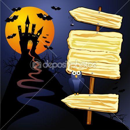Fondo Halloween con signo — Vector de stock