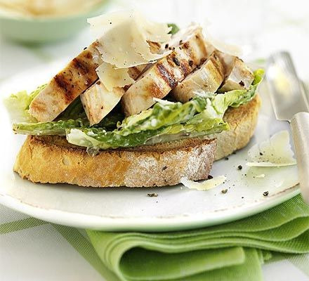 Open chicken Caesar sandwich  An open sandwich is a great supper, team it with some extra salad and a special pud to make a filling meal