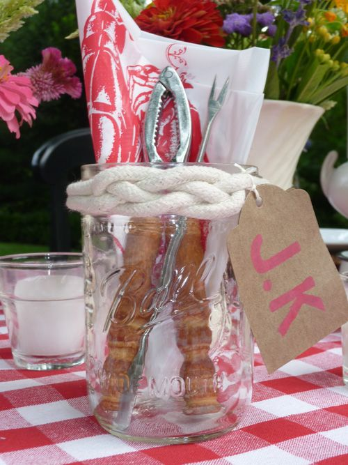 Lobster Bake . . . ball jars as place cards and containers for bibs and lobster crackers . . . Completely Catherine