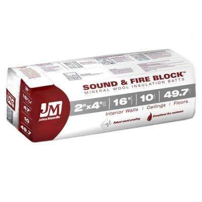 15.25 in. x 47 in. 49.7 sq. ft. Sound and Fire Block Mineral Wool Insulation