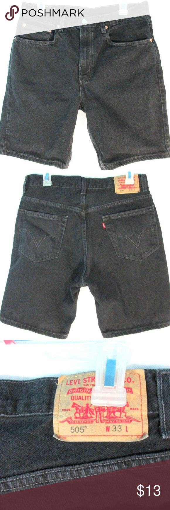 Men's Levi's 505 Jean Shorts Size 33 Black Denim Men's Levi's 505 Jean Shorts Size 33 Black Denim. Normal wear but in good condition with no rips or stains.  Tag Size: W 33 Levi's Shorts Jean Shorts