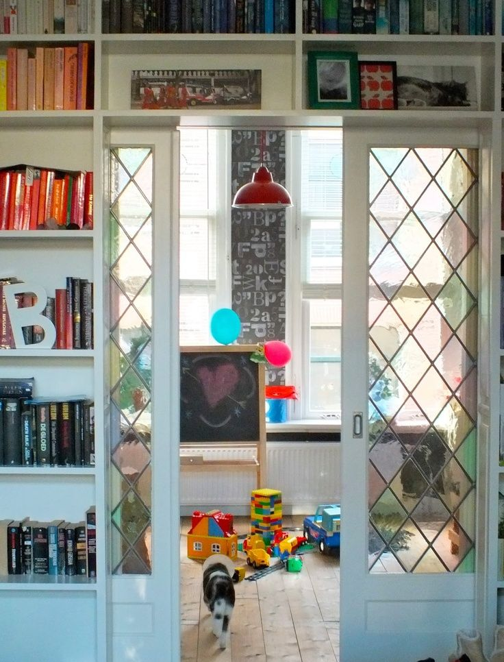 Maybe from the new office nook to den. Love the shelves over the doorway and pocket doors.