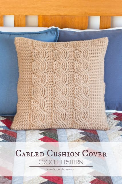 Cabled Throw Cushion Cover - Free Crochet Pattern by Hopeful Honey
