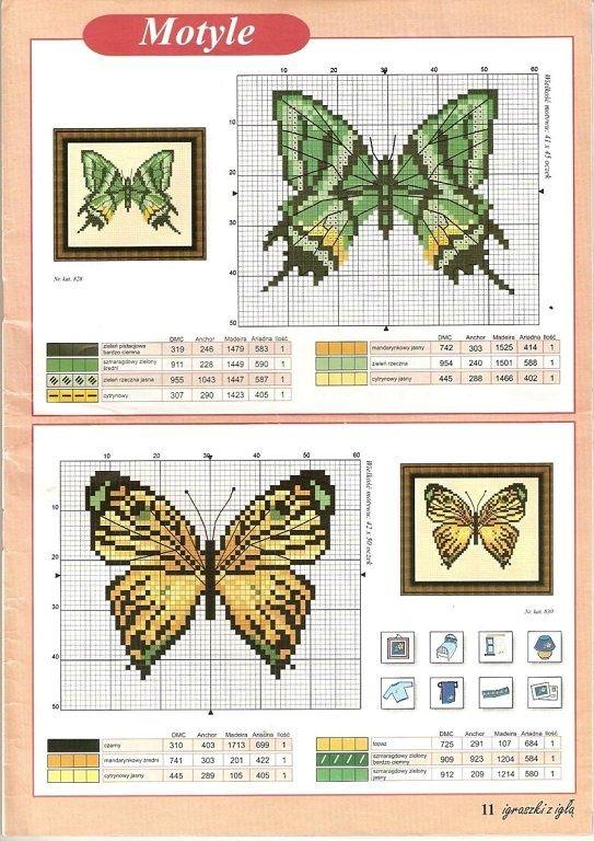 Butterfly cross stitch and chart. <3. Cross-stitch Butterflies