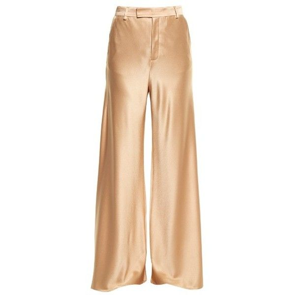 Etro Wide-leg satin trousers (£860) ❤ liked on Polyvore featuring pants, pearl, satin trousers, wide leg trousers, beige pants, wide leg pants and etro