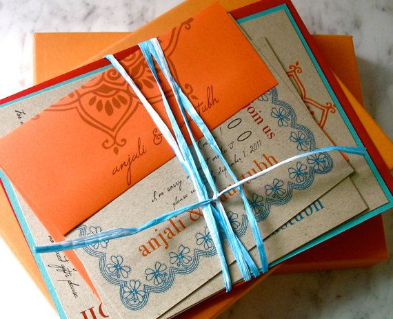 Henna Love- Eco Friendly, Modern Indian Wedding Invitation, With Marigolds, Orange & Red- Printed On Recycled Paper: Beacon Lane, #Etsy I love the colors!