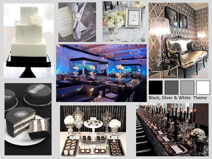 Mood Board For A Corporate Gala Party Black Silver
