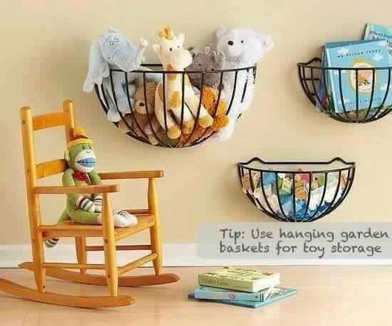 Cheap and easy storage Idea for the kids room