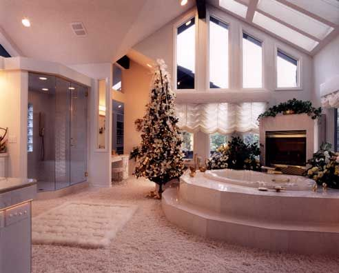 fireplace, Christmas tree and a bathtub in the same room?!  I have found the bathroom of my dreams!!!!