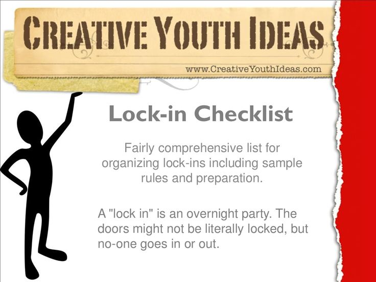 Youth Ministry Ideas - Lock in checklist