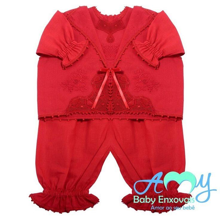 Conjunto pagão em renda renascença vermelho.  Acesse nossa loja www.amybabyenxovais.com.br Siga nosso instagram amy_baby_enxovais