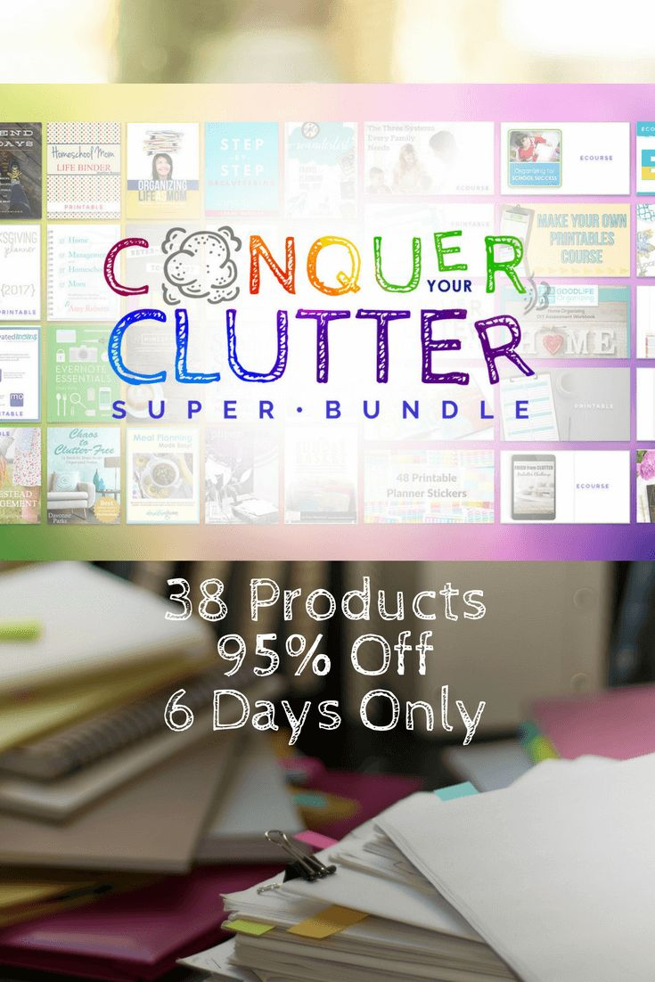 For 6 days only, the Conquer Your Clutter Super Bundle is available.  With 38 resources at 95% off I don't want you to miss out on this!