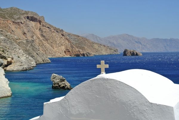 Famous church of Agia Anna in Amorgos island