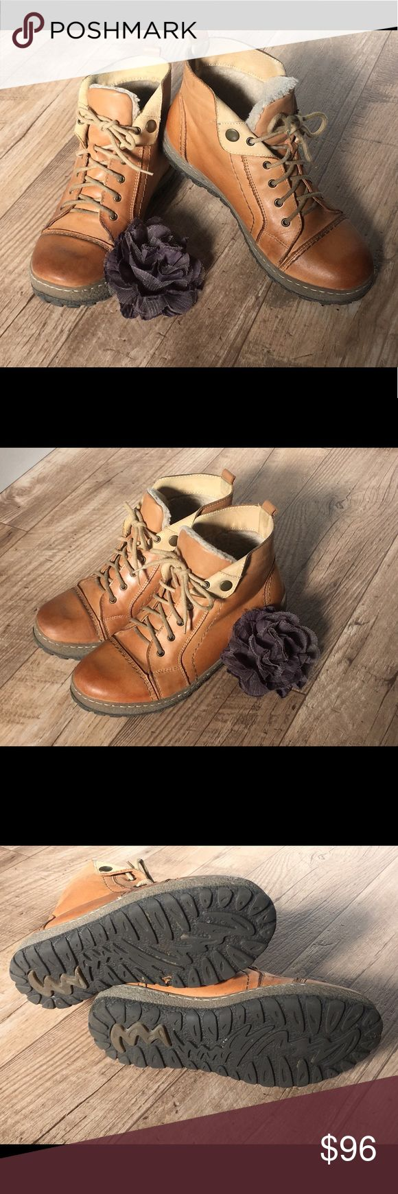 Overland Tucker wool-lined real leather boots Boots/sneakers style Great Condition  Wool-lined boots Cozy ankle, outdoor, tan, camel, caramel, cognac Size Euro 39 equivalent to women's US 9 Shoes