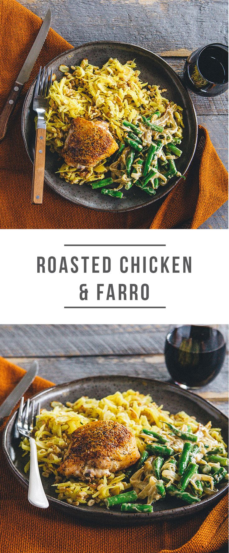 Roasted Chicken and Farro, Americana comfort, lightened up. Recipe: https://greenchef.com/recipes/crispy-chicken-thighs-with-farro-beet-salad-and-creamy-green-beans?utm_source=pinterest&utm_medium=link&utm_campaign=social&utm_content=chicken-farro
