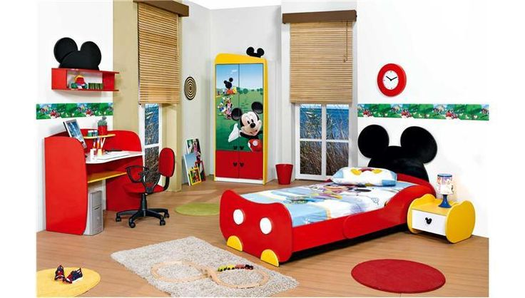 mickey mouse room A red boxed in trundle bed with a black ear head board could be used to duplicate this look.  Would probably end up being cheaper than buying something like this.