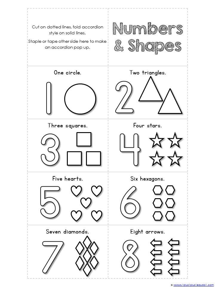 Numbers 1-10 and Shapes Mini Accordion Coloring Book ... | colouring worksheets for preschoolers