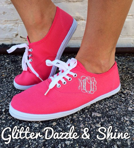 Show Your Colors Glitter Monogram Tennis by GlitterDazzleShine