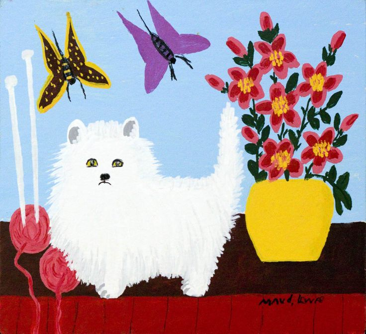 """MAUD LEWIS' THEMES: WHITE CATS!  She named all her cats, """"Fluffy"""".  White Cat with Flowers Maud Lewis at Mayberry Fine Art  Oil on Panel (11x14 in) circa 1963"""