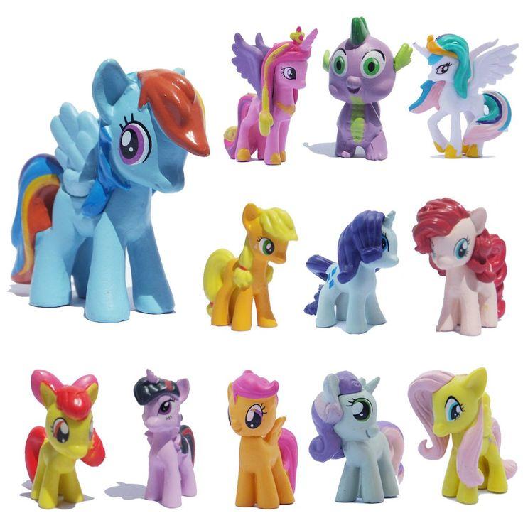 PIHOT Set of 12pcs My Little Pony Action Figures Lot Spike Celestia Rainbow Dash Pony Cake Toppers: Amazon.co.uk: Toys & Games
