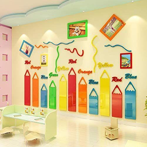 amazon com ettazxv crayon creative kindergarten wall on wall stickers 3d id=48930