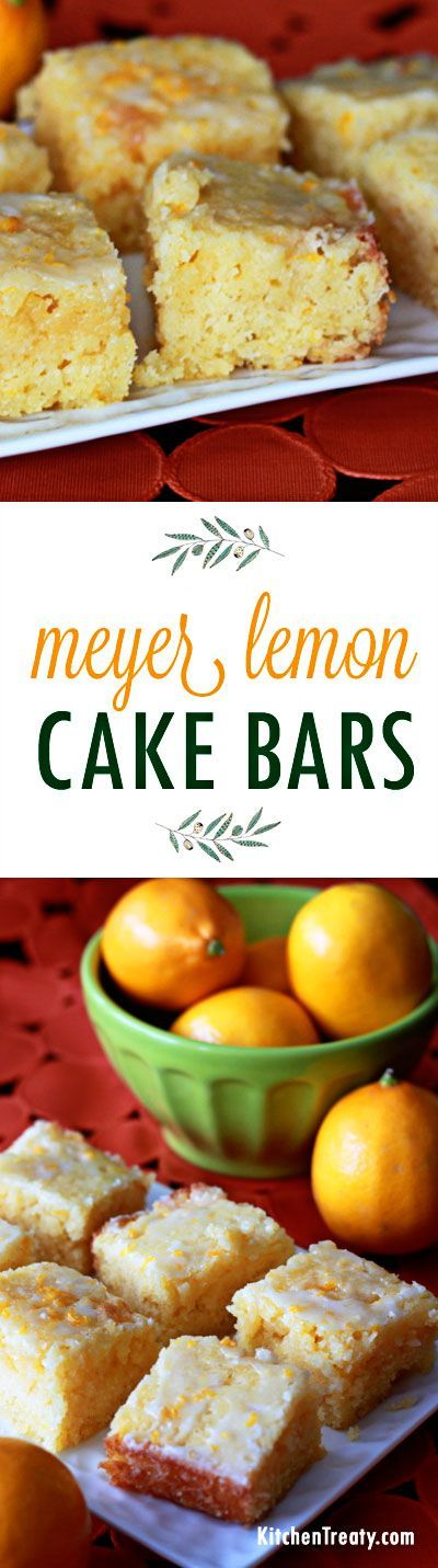 Meyer Lemon Cake Bars recipe - Tart, moist, and buttery-rich. Basically a cross between a lemon brownie and a snack cake! Love the tangy glaze drizzled over the top.