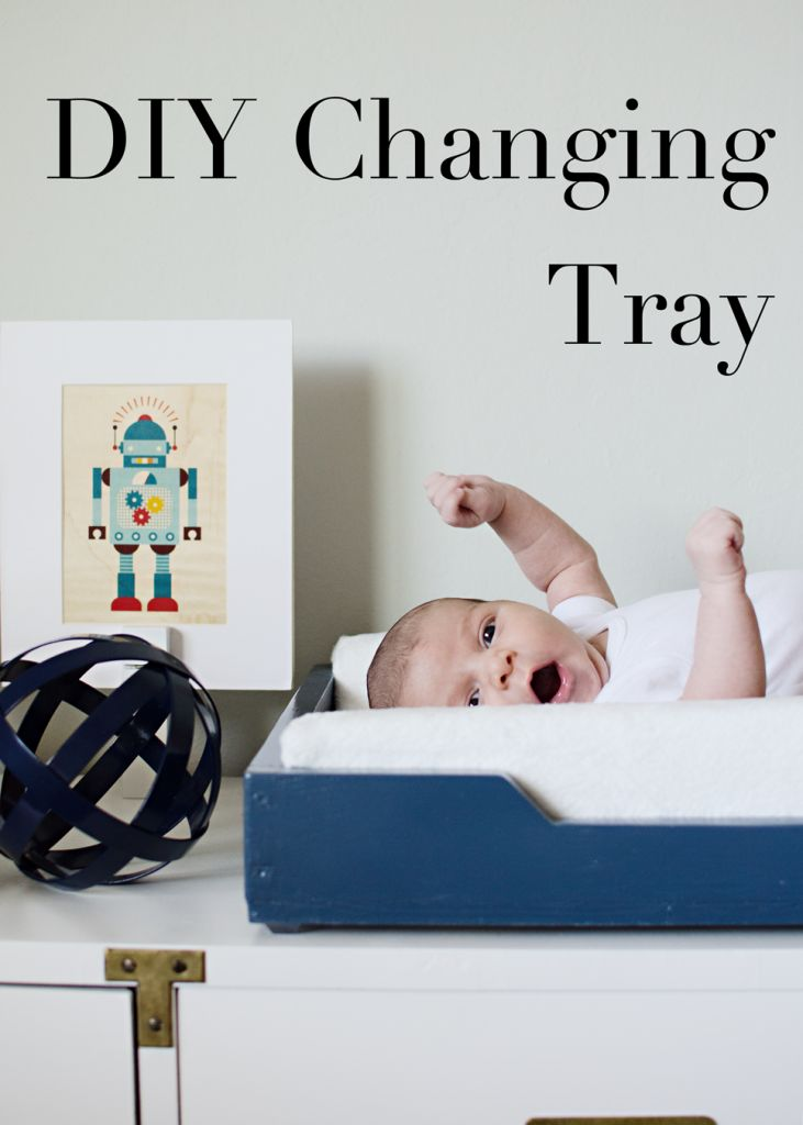 We love this DIY changing table tray-- and the little guy who's in it! | @brittanymakes