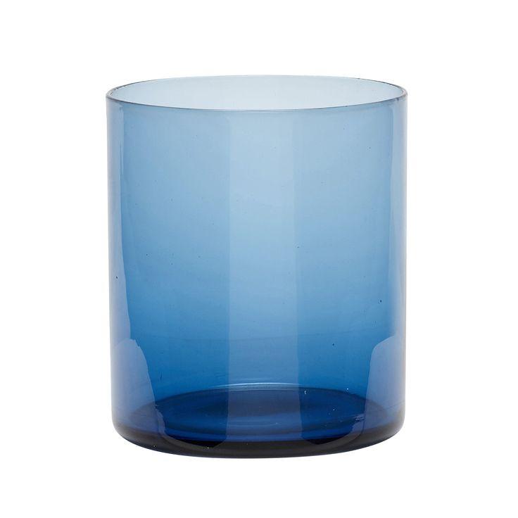 Blue glass tealight holder. Product number: 480104 - Designed by Hübsch
