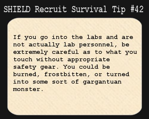 S h i e l d recruit survival tip 42 if you go into the for What goes into 42