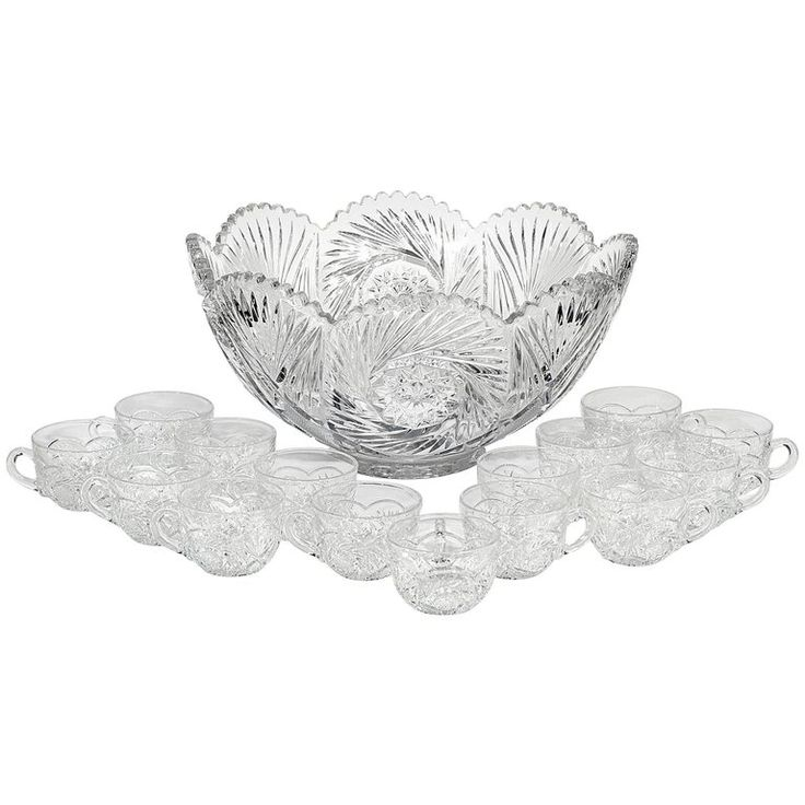 Heisey Glass Co. Glass Punch Bowl Set, 16 Pieces 1