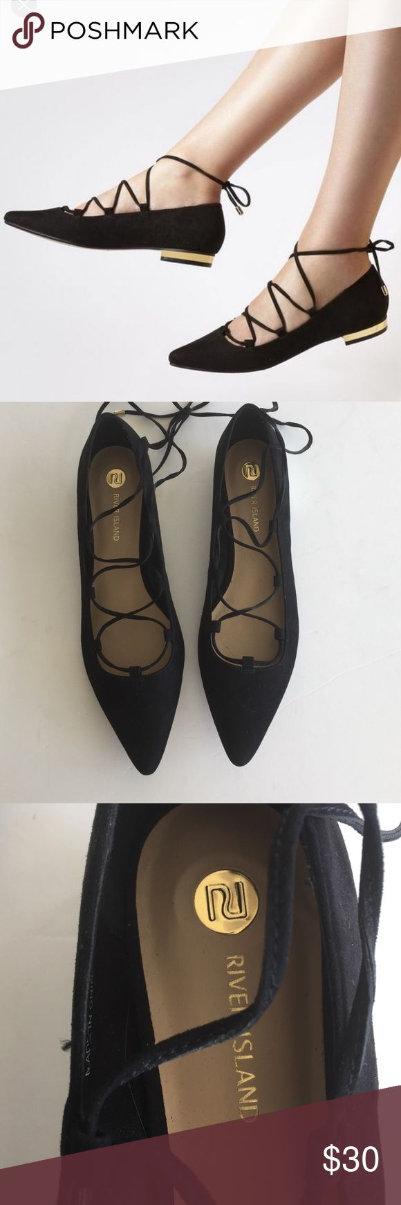 River Island Women's Black Ghillie Lace Up  Flats River Island Women's Black Ghillie Lace Up Pointed Flats bloggers fav! River Island Shoes Flats & Loafers
