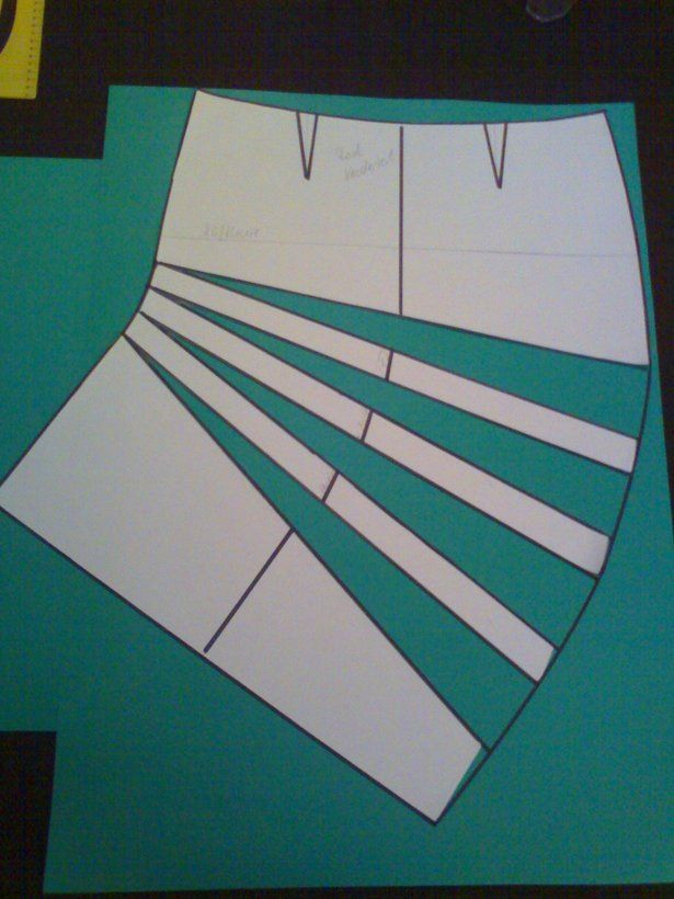 Add draping to a common pattern -Burda Style instructions for adding asymmetrical pleats to a skirt pattern