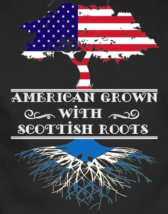 American grown with Scottish roots without the text between this would be an awesome tat if you found an artist that could do it justice.