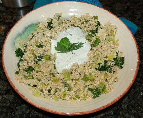 Greened Quinoa with Herbed Feta-Yogurt Dressing | Recipe | Quinoa ...