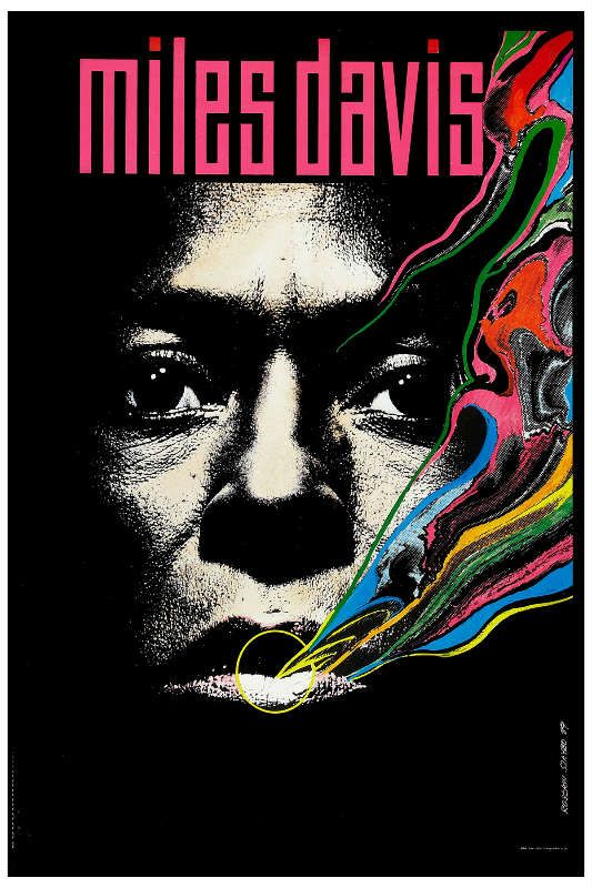Poster of Miles Davis emerges from the the darkness and the colourful smoke resembles the smooth uplifting feel of the jazz.