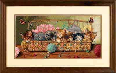 Набор для вышивания Dimensions Новорожденные котята. Очень милые мимишные котята, вышивка для опытных вышивальщиц, много бэка - но результат потрясающий!