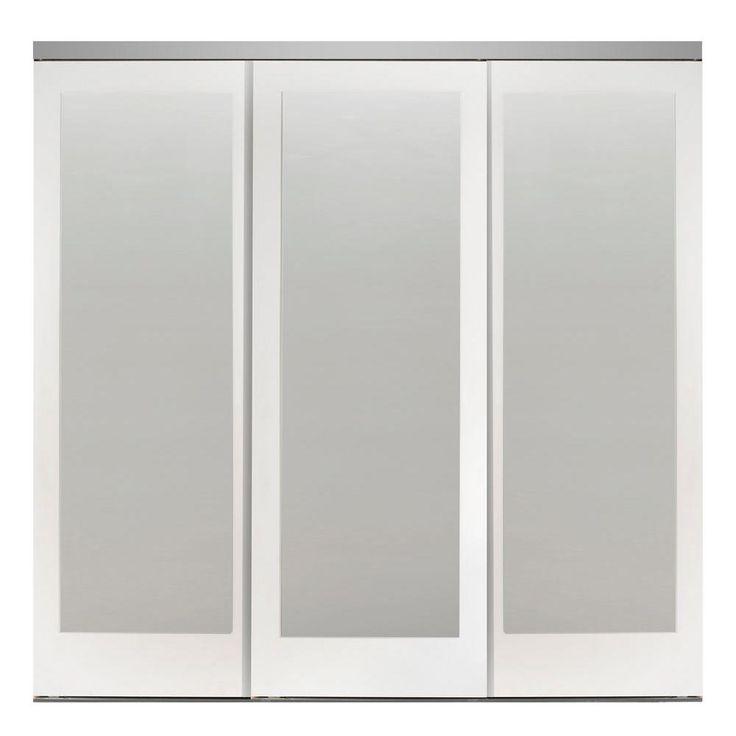 Impact Plus 84 In X 80 In Mir Mel White Mirror Solid Core Mdf Interior Closet Sliding Door With Chrome Trim Custom Interior Doors