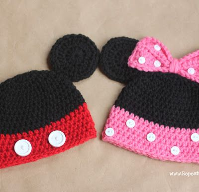 Knitted Minnie Mouse Hat Pattern : Mickey and Minnie Mouse Crochet Hat Pattern Crochet Hats Pinterest Mice...