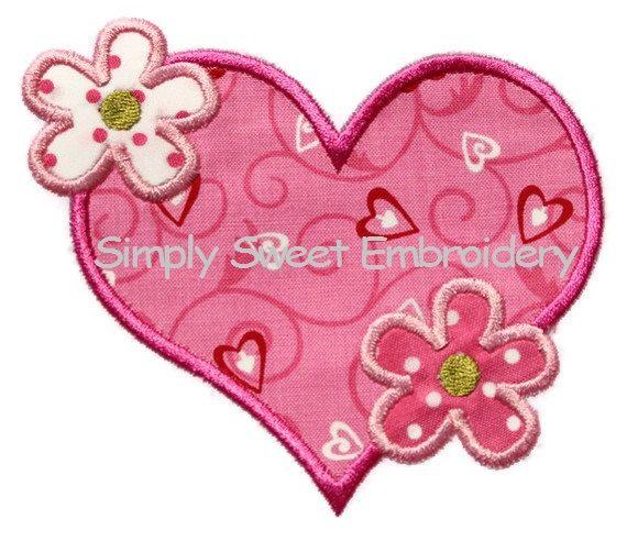 flower heart machine embroidery applique design