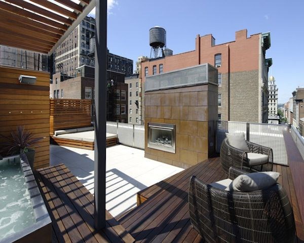 #Contemporary #outdoor #rooftop #terrace in #NYC with a hot #tub, #fireplace, and #daybed. Reminds me of a #deck on a #cruise #ship!