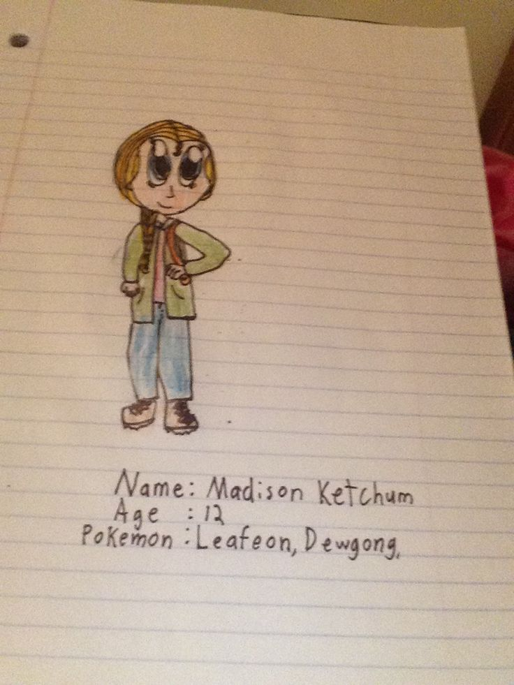 Myself as a Pokemon XY character! Okay, she's Ash's older sis. Also, when her and Ash were on their way to the airport, Team Rocket came outta nowhere and snatched up the Pokemon she was taking with her to the Kalos region, Leafeon, her partner since she was an Eevee. So whenever she sees an Eeveelution or a grass type pokemon, she gets depressed. And she gets really upset when she sees Team Rocket or another Leafeon.