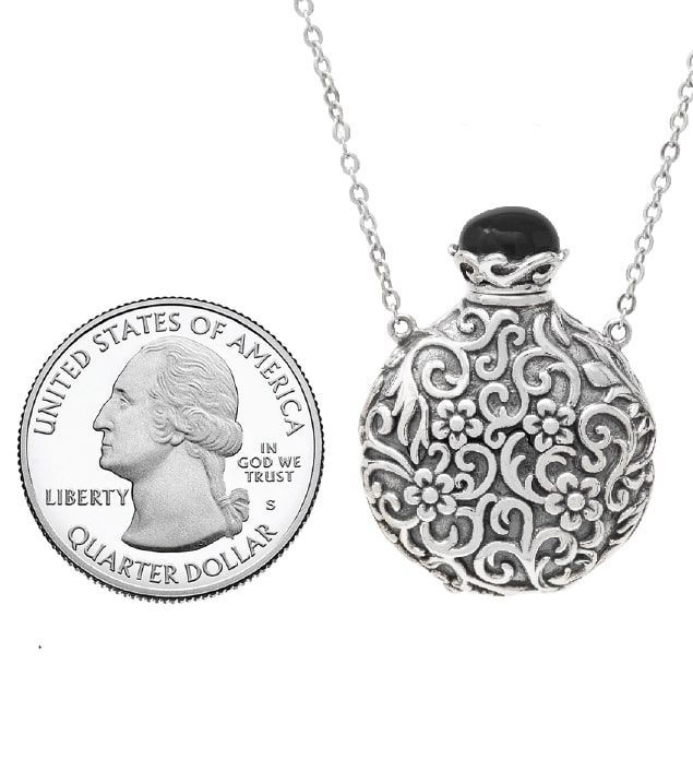 Cremation Jewellery Forget me Not Memorial Urn Necklace 925 Sterling Silver Pendant for Ashes Keepsake