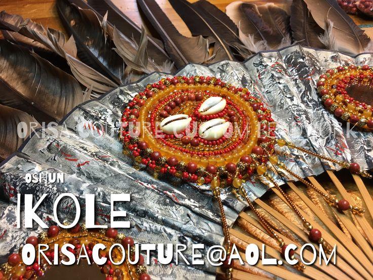 Abebe Oshun Ibu Kole Hand fan with vulture feathers were provided by the client... For inquires, please send an email to OrisaCouture@aol.com #abebe #oshun #ochun #osun #ibukole #ikole #iyalode #olosun #orisa #orisha #lukumi #santeria #yoruba #diaspora #orisacouture